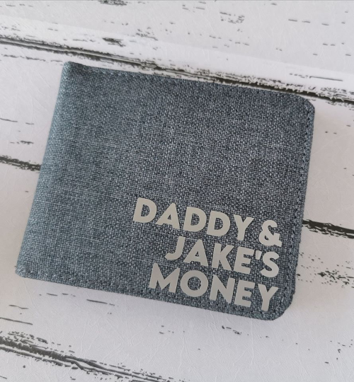 Mens Personalised Fabric Wallet Grey